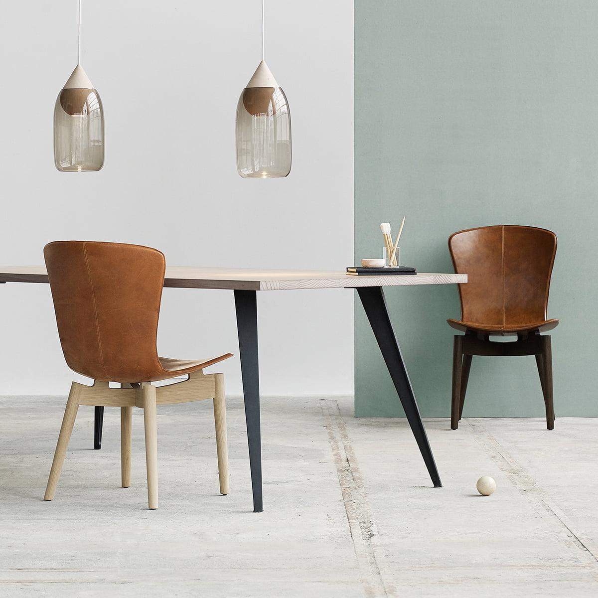 Mater Shell spisebordsstol, mat lakeret eg Ultra cognac læder
