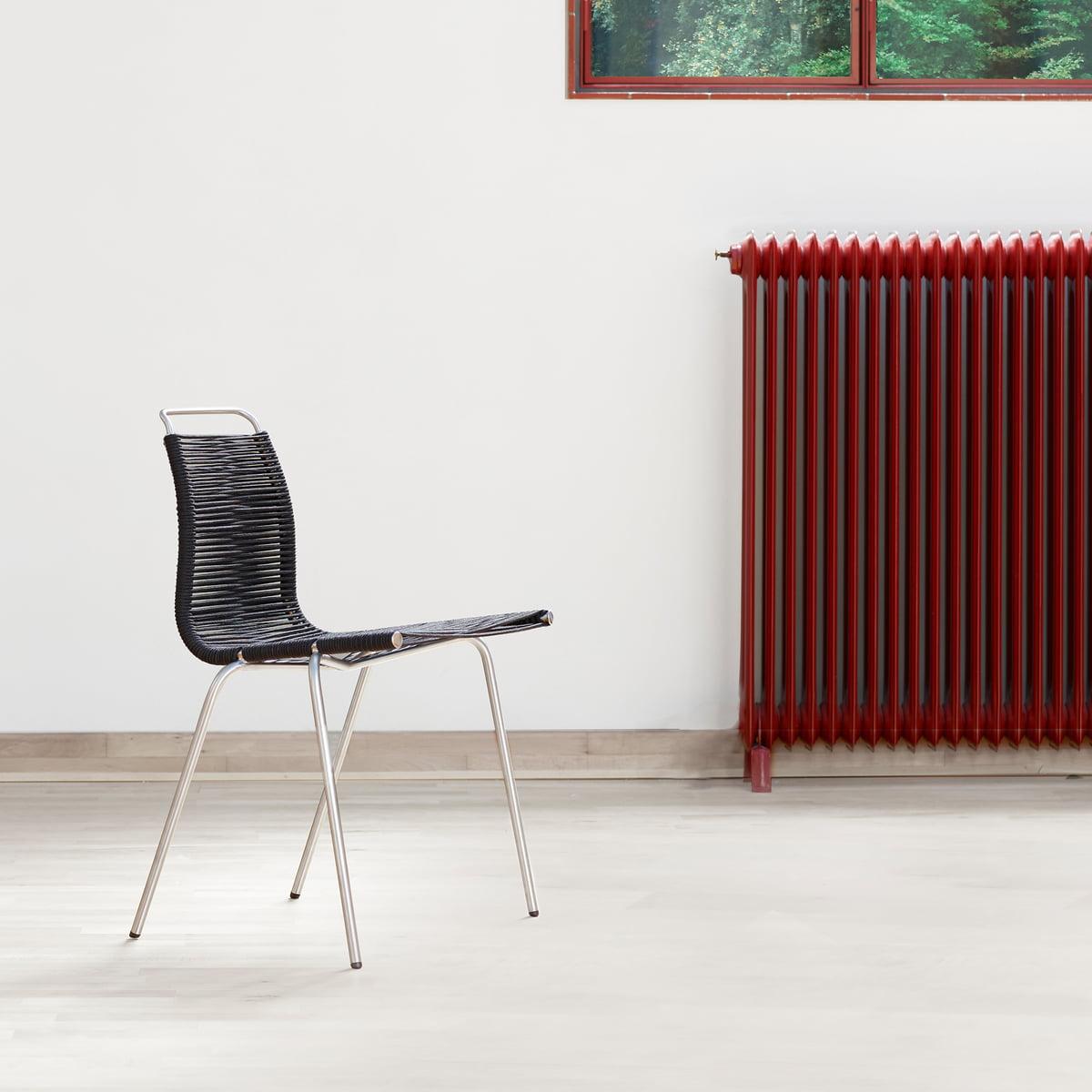 Carl Hansen – PK1 spisebordsstol, forkromet stålflagline i natur (filtpuder)