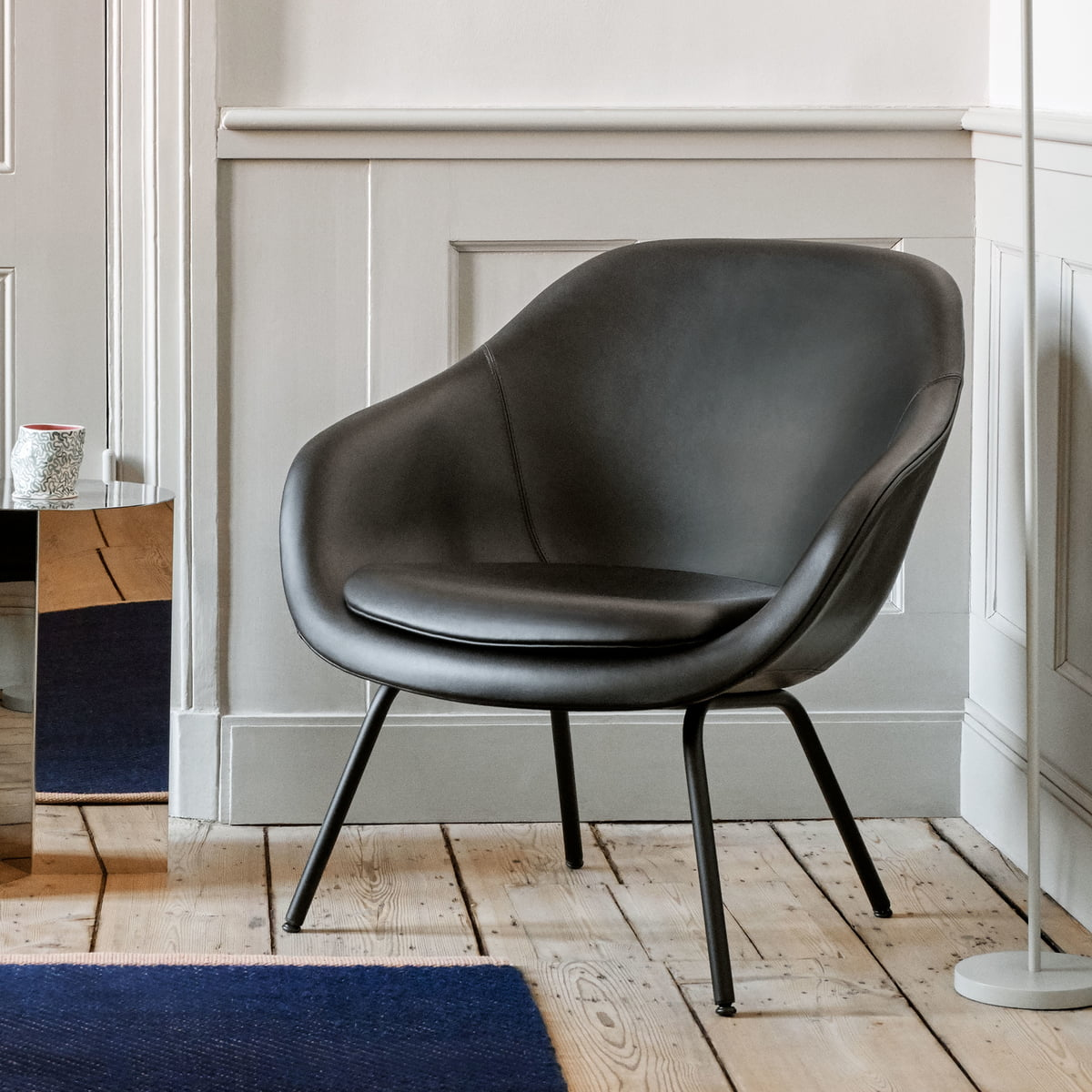 Hay About A Lounge Chair AAL 87, sort Silk læder SIL0842