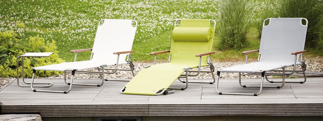 Fiam liggestol fremstillet af aluminium: havemøblerne fås i forskellige farver og design.