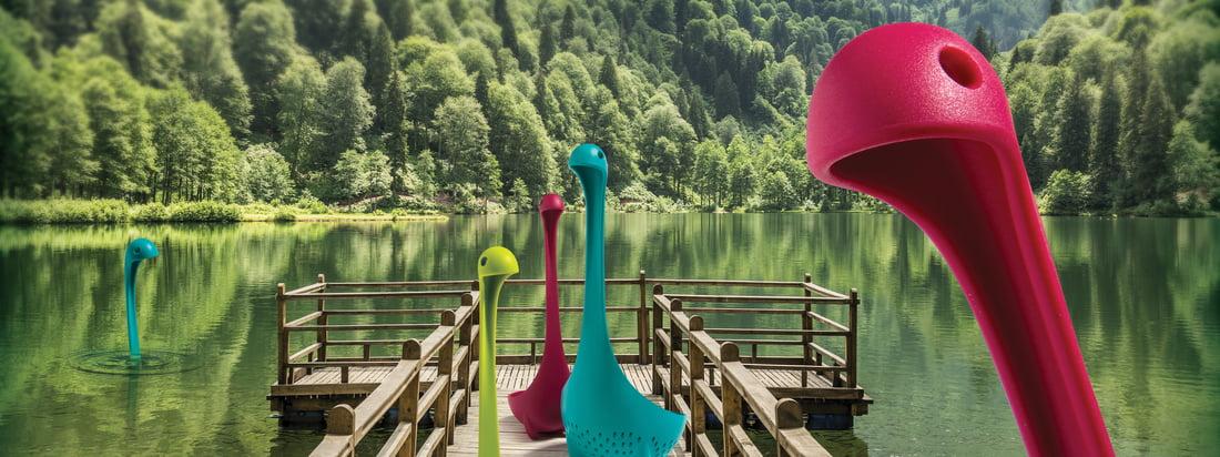 Mamma Nessie dørslag til grøntsager og Nessie øseske fra Ototo – i mange forskellige farver