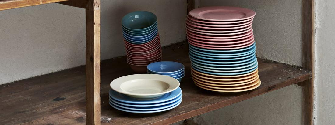 Rainbow skåle og tallerkener og den italienske sukkerrister hører til den praktiske Kitchen Market-kollektion af Hay, som er designet til køkkenet.