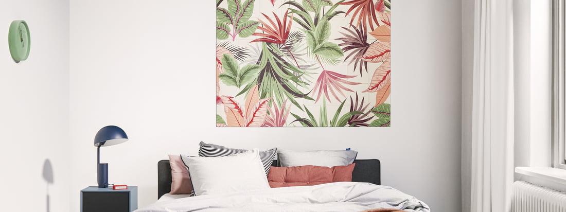 Pink Jungle-vægmotivet fra IXXI i stemningsudsigten. Pink Jungle-motivet fra Creative Lab Amsterdam tilføjer et tropisk præg til enhver atmosfære.