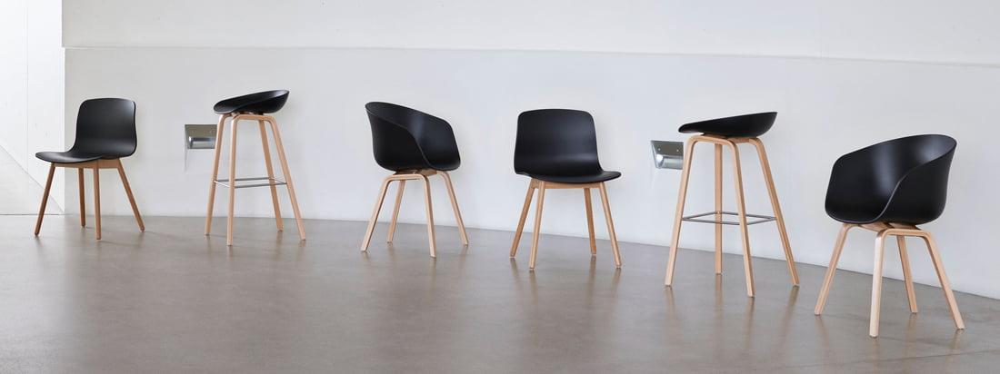 About A Chair-serien fra det danske designstudie Hay er en af de mest kendte og mest populære siddemøbelserier i verden. About A Eco serien fra Hay går et skridt videre: Genanvendt polypropylen (PP) bruges til produktion.