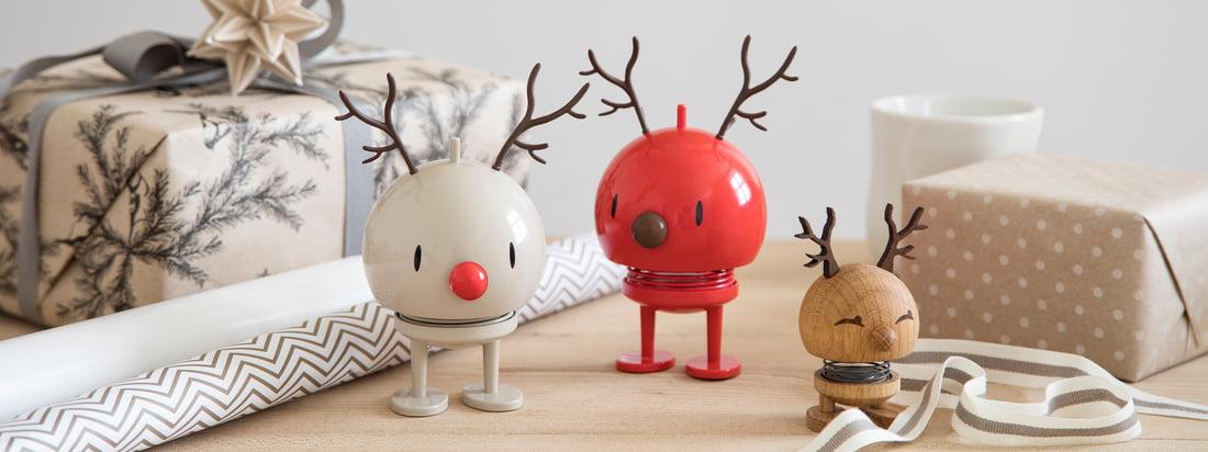 De kærligt designede julefigurer fra Hoptimist fås i en lang række forskellige versioner - det være sig som snemand, julemand, som et rensdyr eller mere.