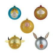 A di Alessi – julekugler med Jesusbarnet, Maria, Josef, okse og æsel (med farve)