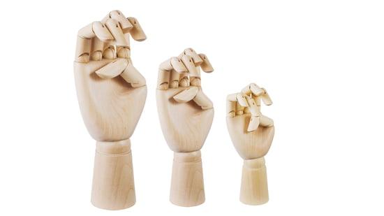 ///Hay Wooden Hand – dekorativ hånd i stor og lille