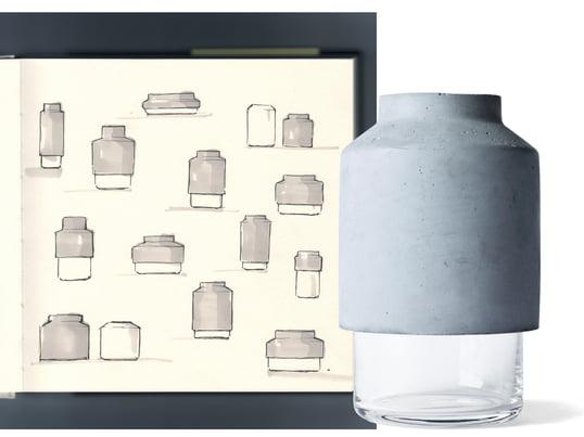 Kontrasten mellem den rå beton og klart glas viser også, at Willmann vasen fra Menu var lavet af en speciel kombination af materialer, der er kendetegnende for tyske Hanne Willmanns design.