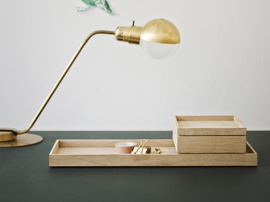 Skagerrak har sammen med designertrioen VE2 skabt Nomad-produktserien. Nomad opbevaringsboksen med låg, som er fremstillet af egetræ, er en fleksibel og mobil lille boks, der kan bruges overalt i huset.