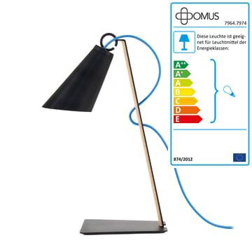 Domus – Pit bordlampe – oliebehandlet eg/sort/blå ledning