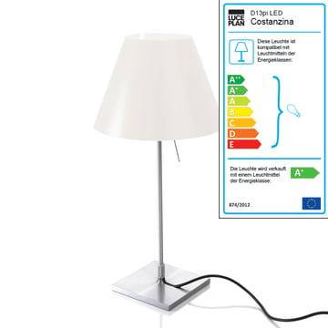 Luceplan – Costanzina bordlampe 1D13 lampe, aluminium/hvid