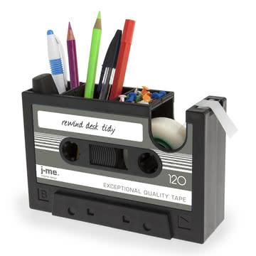 j-me – Rewind tapedispenser, mørkegrå – med indhold