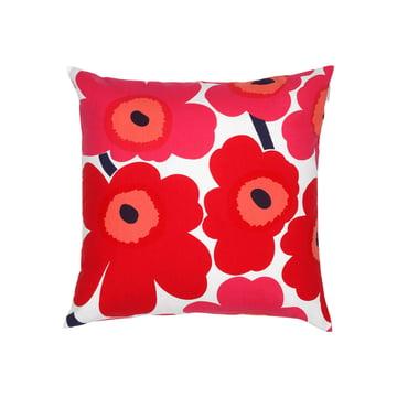 Marimekko – Pieni Unikko pudebetræk, 50 x 50 cm, hvid/rød