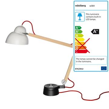 Wästberg – Studioilse bordlampe w084t2, rød ledning