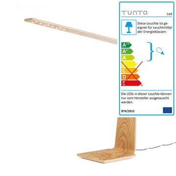 LED 8 bordlampe med Qi-trådløs fra Tunto i ubehandlet eg