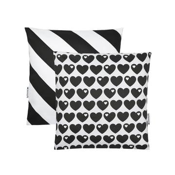 Vendbart pudebetræk med hjerter, 40 x 40 cm, fra byGraziela i sort