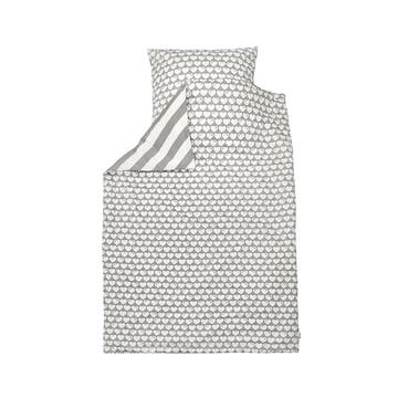 Vendbart sengetøj med hjerter, 135 x 100 cm, fra byGraziela i gråt