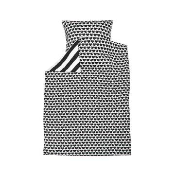 Vendbart sengetøj med hjerter, 135 x 100 cm, fra byGraziela i sort