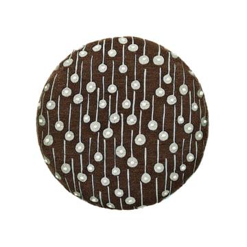 Circular pude med Pop Rain-stof i brun