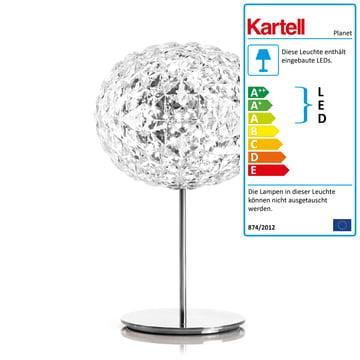 Planet LED-bordlampe med fod og lysdæmpning fra Kartell i krystalklar