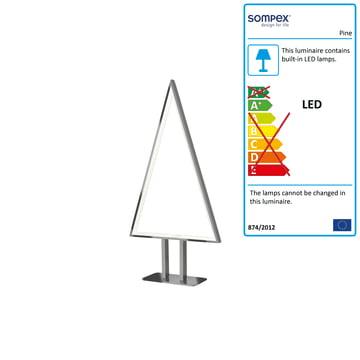 Pine LED-bordlampe, 50 x 25 cm fra Sompex, aluminium