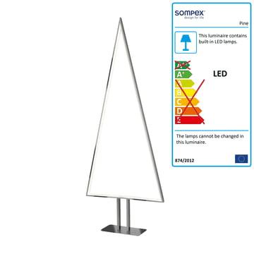 Pine LED-bordlampe, 100 x 40 cm fra Sompex, aluminium