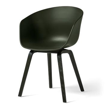 Hay – About A Chair AAC 22, firbenet træstel, grøn/grøn (filtpuder)