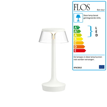 Bon Jour bordlampen fra Flos i hvid, krone gennemsigtig
