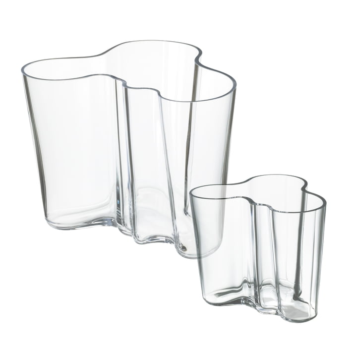 Aalto vase sæt 160 + 95 mm fra Iittala i klar