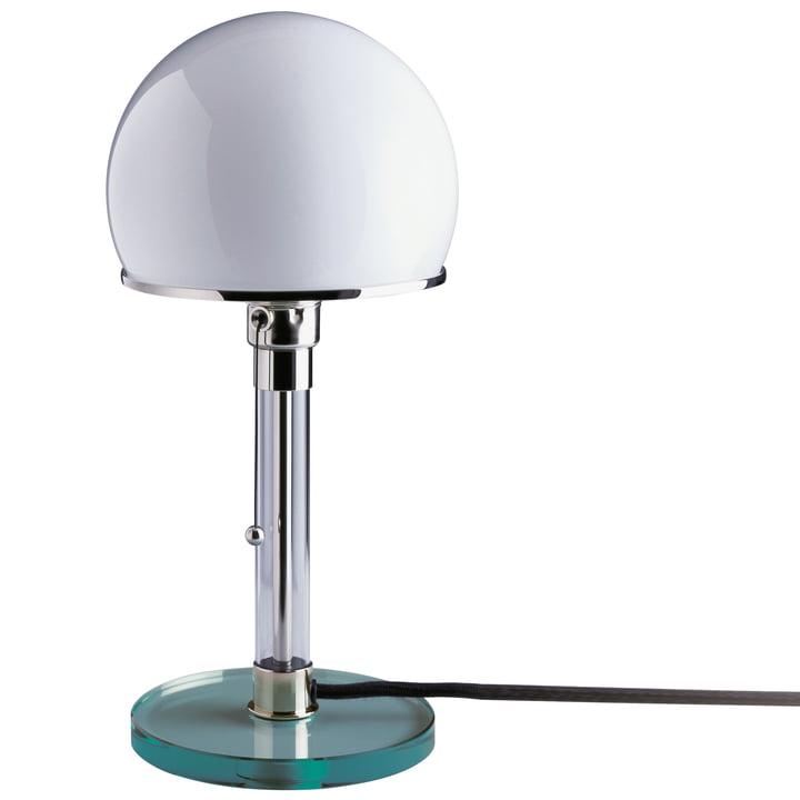 Wagenfeld lampe WG 24 med klar glasfod af Tecnolumen