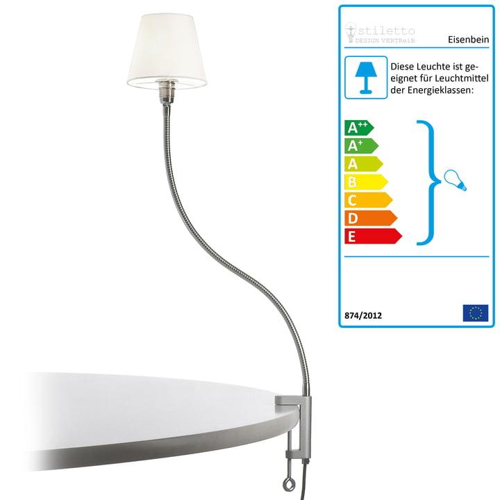 Stiletto – Eisenbein, forkromet lampe med tekstilskærm