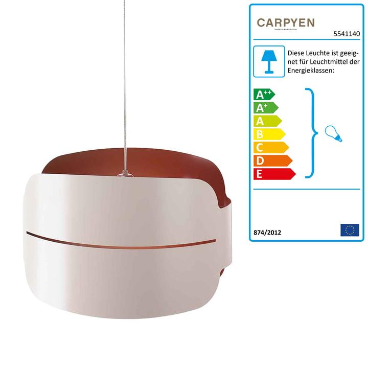 Carpyen Irma pendel – stort lampeudtagsdæksel, hvid/rødbrun