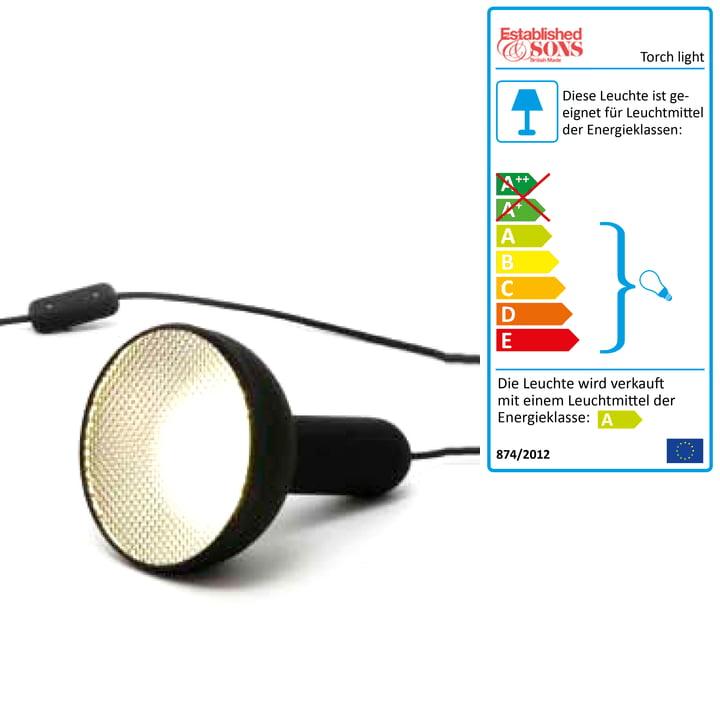 Torch Light gulvlampe, kegleformet – lille, sort ledning (tænd/sluk)
