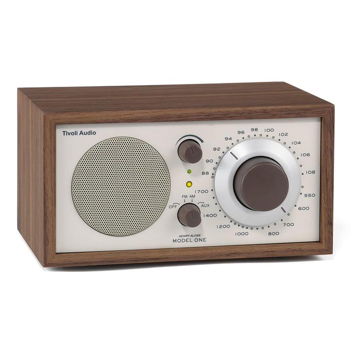 Model One mono radio – valnød/beige