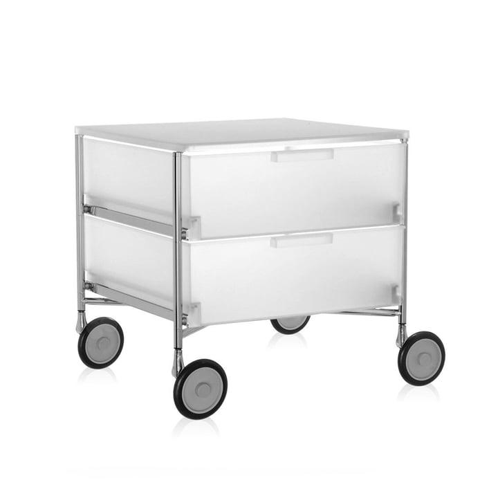 Kartell – Mobil kommode – med hjul, 2 skuffer, isfarvet
