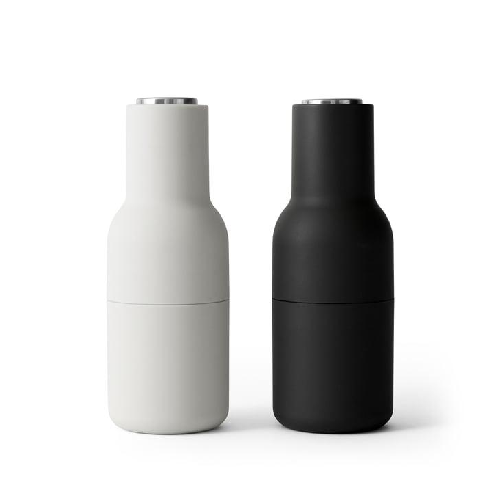Bottle salt- og peberkværn indstillet af Menu i aske / kulstof (låg i rustfrit stål)