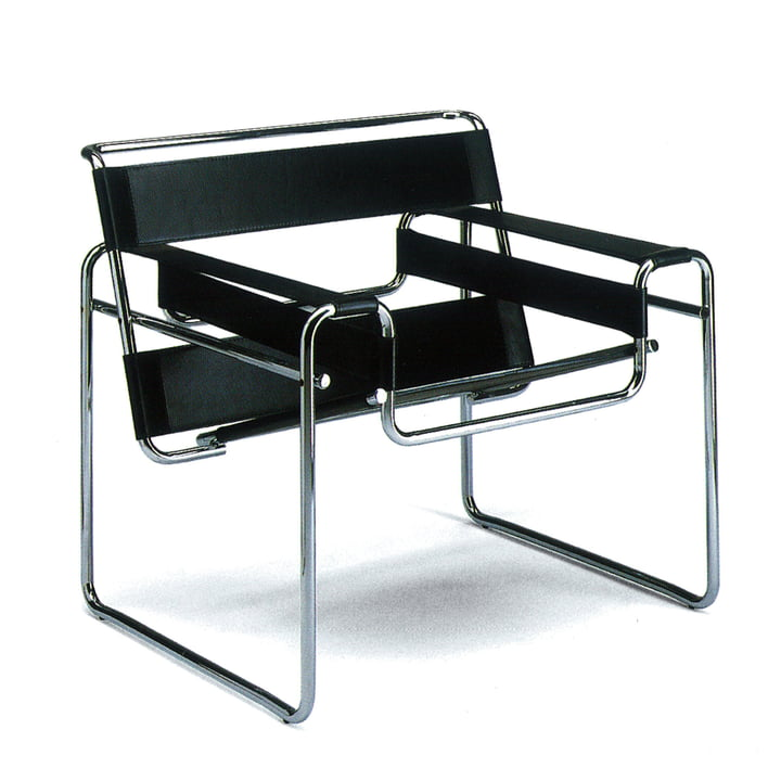 Knoll – Wassily stol – okselæder, sort