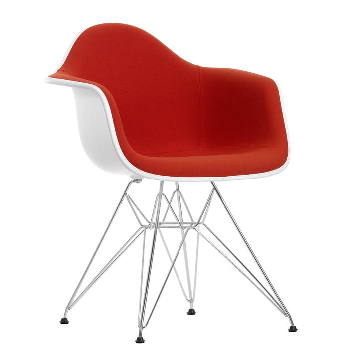 Eames Plastic Armchair DAR – fuldpolstring, Hopsak rød/orange