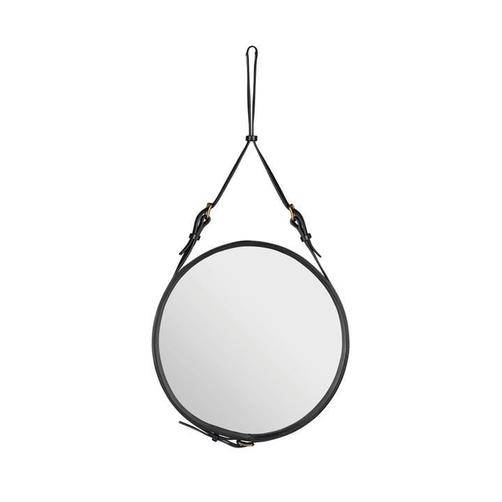 Adnet spejl Ø 45 cm fra Gubi i sort