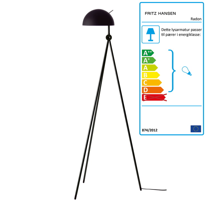 Radon gulvlampe fra Fritz Hansen, i nigra (sort/sort)