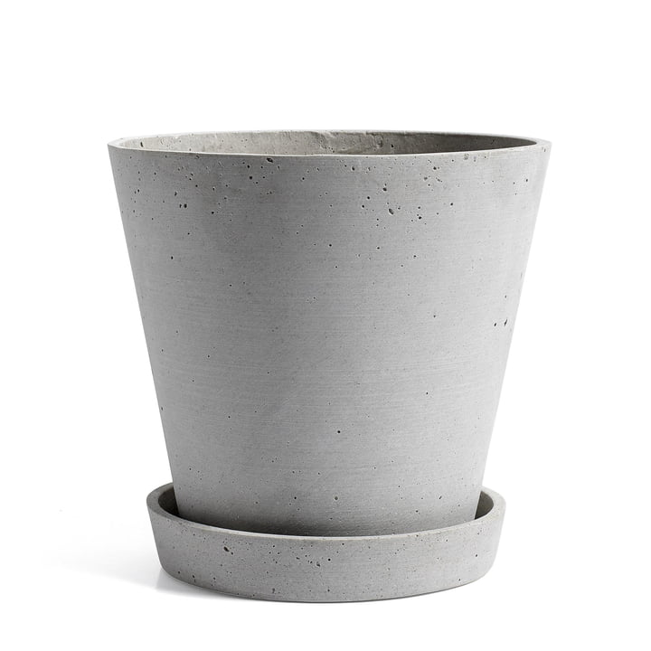 Hay – urtepotte med underskål, XL, grå