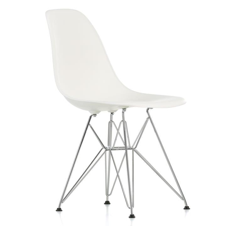 Vitra – Eames Plastic Side Chair DSR, forkromet/hvid, sorte filtpuder