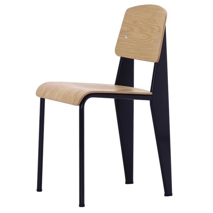 Vitra - standardstol, naturlig eg / dyb sort, filtglides