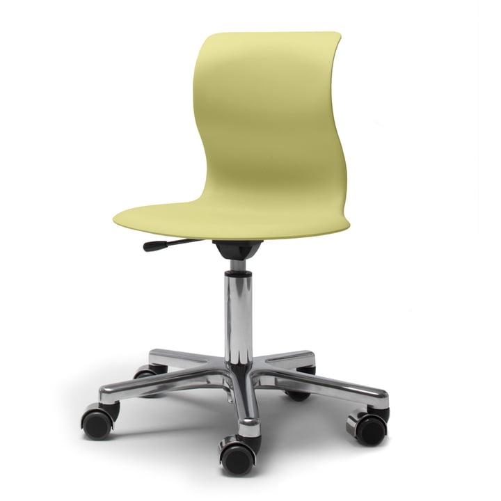 Flötotto, Pro 4 og 5 drejestol, forkromet, kiwigrønt sæde
