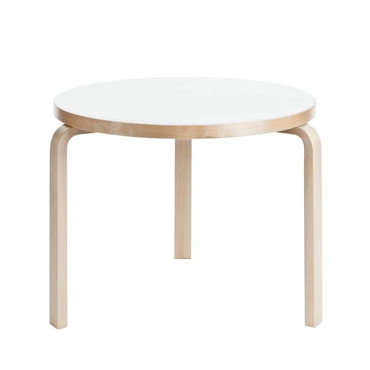 90B bord fra Artek, H 74 cm, med hvid laminatoverflade