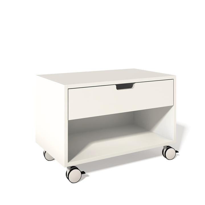 Müller Möbelwerkstätten – modulopbygget natbord med skab, hvid 9010