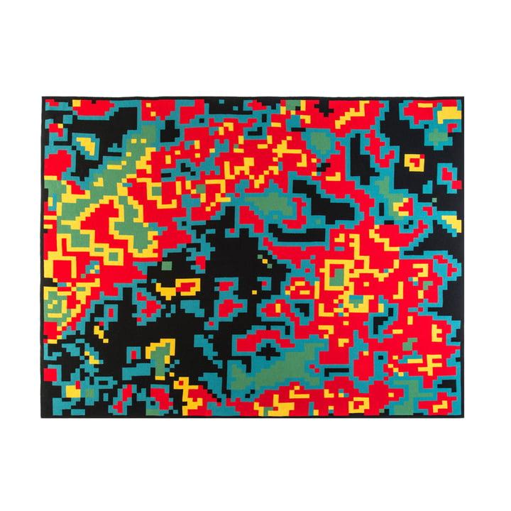 Zuzunaga – Digital Sunrise uldtæppe, rød/petroleumsblå