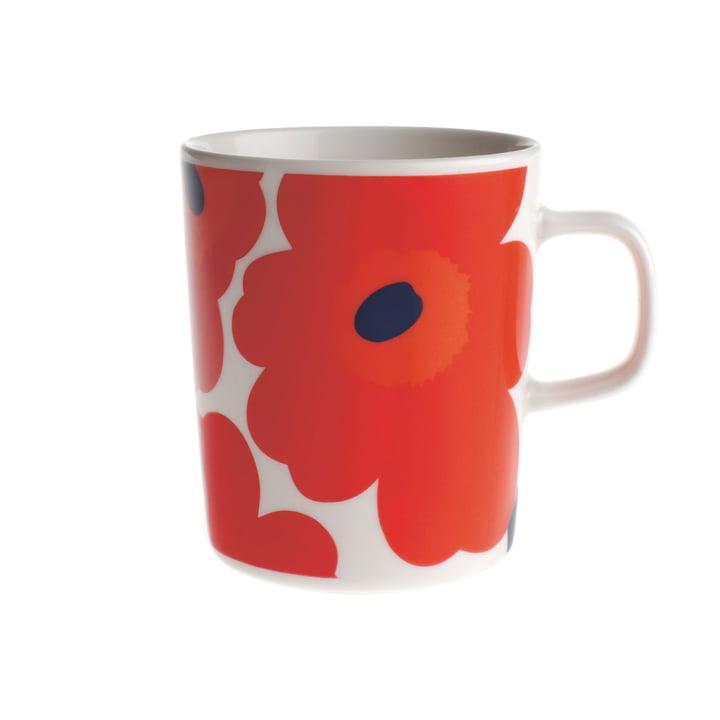 Marimekko – Pieni Unikko kop med hank hvid/rød