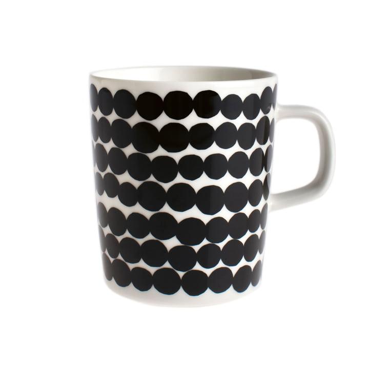 Oiva Räsymatto kop med hank, 250 ml, fra Marimekko i sort/hvid
