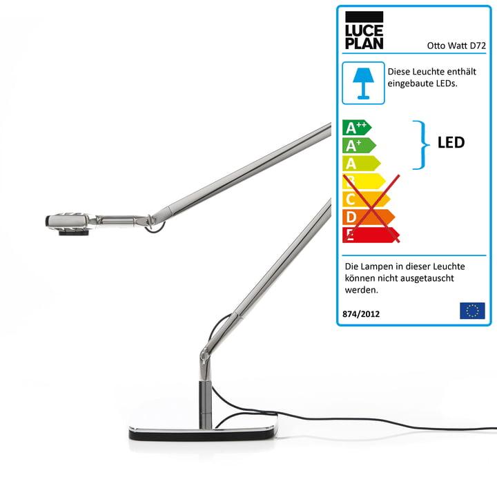 Luceplan – Otto Watt skrivebordslampe, sølv